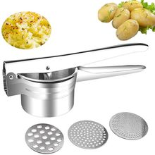 Useful Household Potato Masher Portable Stainless Steel Puree Tool Kitchen Gadgets(with 3PCS Replaceable Negatives) Decor