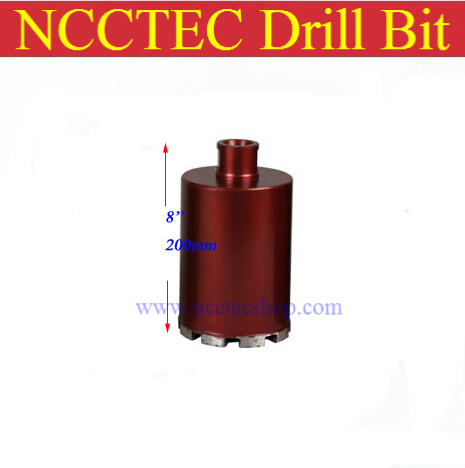 83mm*200mm short crown wet diamond drilling bits | 3.3'' concrete wall wet core bits | Professional engineering core drill