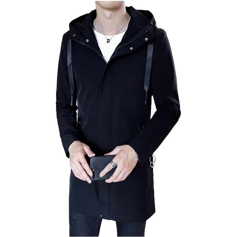 Autumn Winter 2018 Long Hooded Jackets Coat Men Solid Manteau Coat Male Windbreaker Zipper Breasted Coats Casual Mens Trench