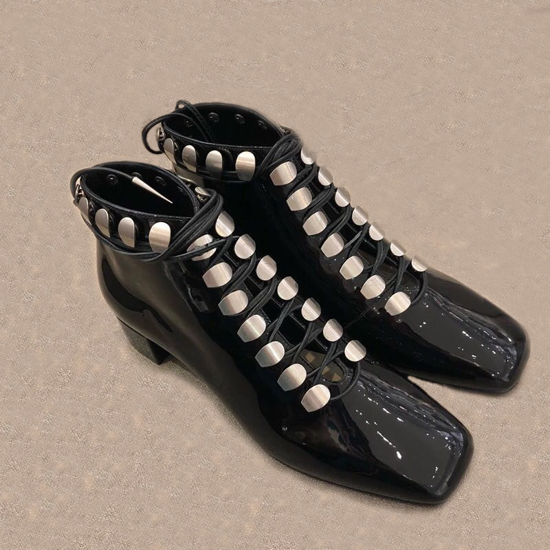 Lacets Mujer Chelsea Chaussures Chunky À Noir 2019 Bottines Bottes Talons Srtappy Cloutés Combat Show As Cheville Femmes Nouveau Zapatos ORqZaI