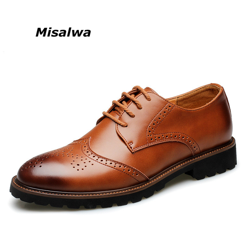British Men Formal Dress Business Brogue Flats Male Wedding Office Working Cow Leather Oxford zapatos hombre