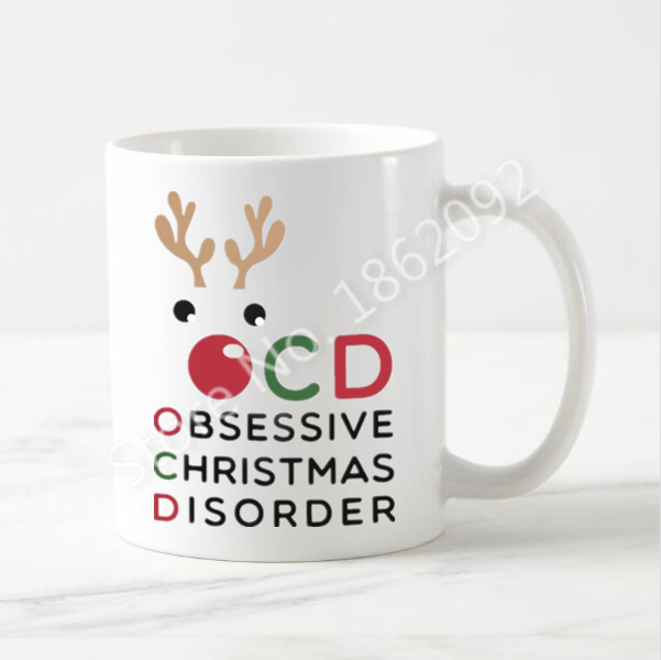 Christmas Mugs.Us 13 64 9 Off Funny Christmas Mug Christmas Ocd Obsessive Christmas Disorder Coffee Mug Xmas Cup Gifts Creative Novelty Cute Reindeer Home In Mugs