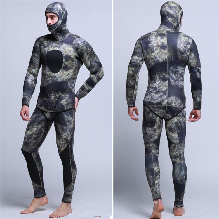 Men\'s 5mm SCR Full Suit Camouflage two Piece Splicing Diving Suits Surfing snorkel swimsuit Split Suits combinaison surf wetsuit (3)