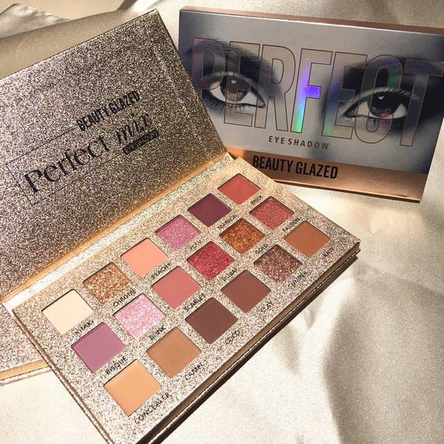 Belleza de cristal 18 colores Nude de sombra de ojos maquillaje pigmentos impermeable profesional brillo desnudo sombra de ojos paleta