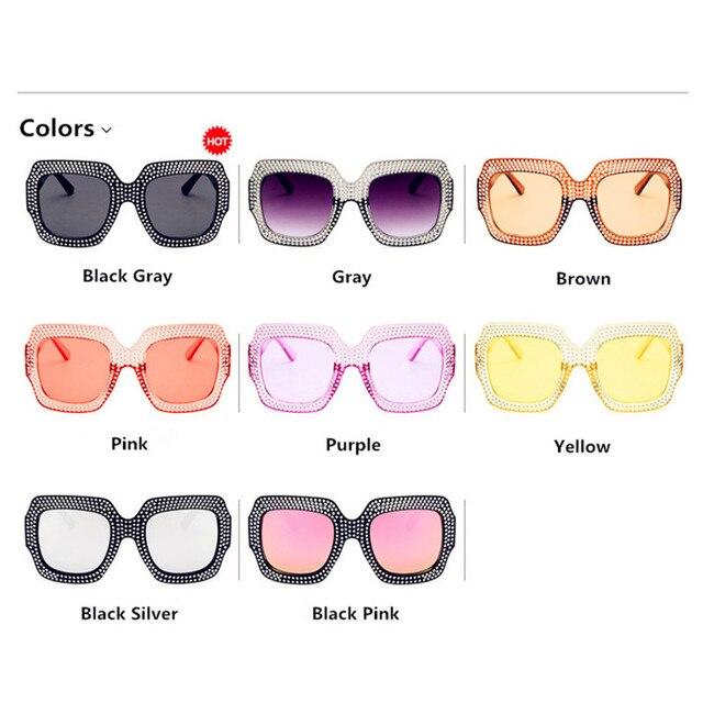 CURTAIN Oculos Feminino Spectacles Trendy Big Imitation Diamond Sunglasses Square Fashion Street Shot Personality Sun Glasses  5