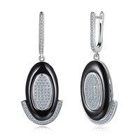 HEMISTON 925 Sterling Argent En Céramique Diamant Conception Pour Décoratif Oreille Boucle Femmes Beaux Bijoux SH-CE048