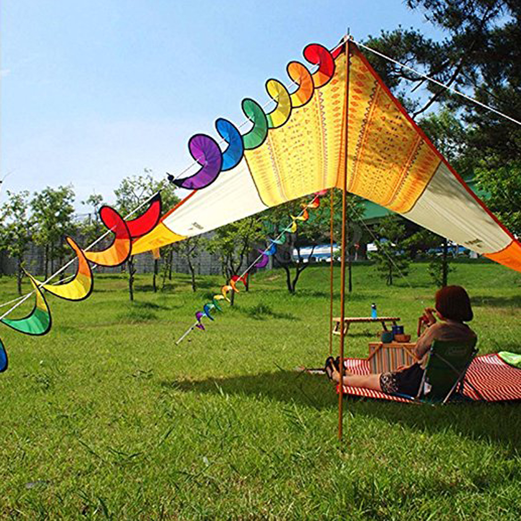 2Pcs Rainbow Spiral Windmill Wind Wheel Windsocks Twister For Camp Tent  Lawn Home Garden Ornaments Outdoor Whirligig Toy 55u0027u0027