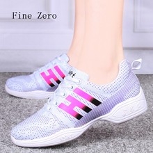 Fine Zero 2017 Women's Comfort Dance Sneakers Breathable Mesh Soft Modern Dance Shoes Hip Top Dancing Shoes Fitness Sneakers