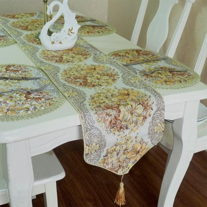 European Style Table Runners Floral Embroidery Table Mat Cushion Table Runners Home Decoration Cotton Blend Party Tablecloth New