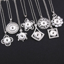 2019 New Snap Jewelry Pendants Owl Tree Of Button Necklace with Chains fit 18mm For Women