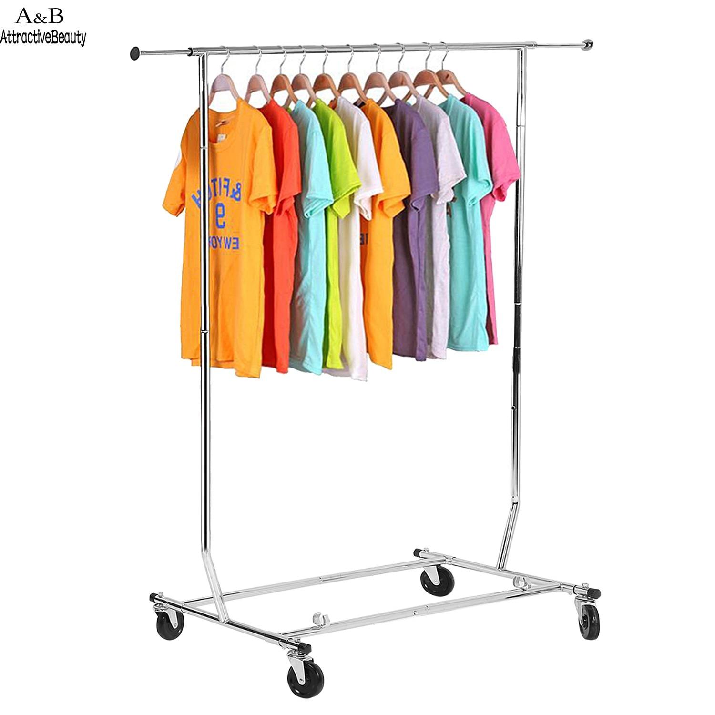 homdox adjustable rolling steel clothes hanger organizer garment rack heavy duty rail with wheel n20