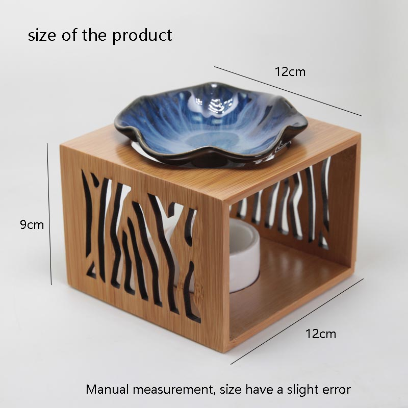 Creative Openwork Bamboo Wooden Shelf Ceramic Plate Aroma Burner Office Tea Ceremony Candle Essential Oil Fragrant Stove Gifts-in Incense \u0026 Incense Burners ... & Creative Openwork Bamboo Wooden Shelf Ceramic Plate Aroma Burner ...