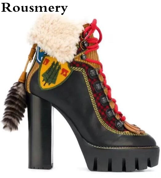 Winter New Luxury Brand Black Yellow Red Patchwork Round Toe Platform Sole Lace Up Front Fur Back High Heel Stivale Ankle Boots black front lace up a line mini skirt with back zip