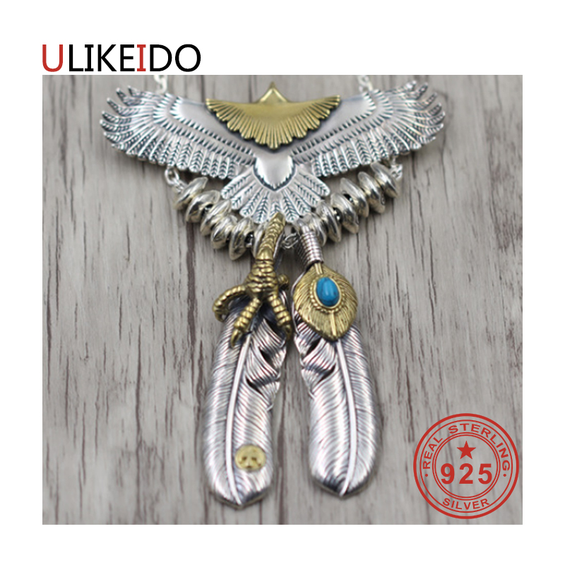 925 Sterling Silver Jewelry Pendant Necklaces Feather Charm Punk Link Thai Silver Eagle Chain For Men And Women Fine Gift 2000