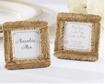 20sets Gold Feather Frame Place Card frame indian wedding favors Free Shipping