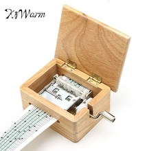 KiWarm Fashion DIY Hand Crank Music Box Wooden Box With Hole Puncher And Paper Tapes Musical Instrument Home Ornament Craft