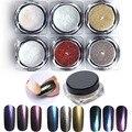 1 g/caja Multichrome Copos de Camaleón Brillo Espejo Clavo Del Brillo Del Polvo Del Arte Del Clavo Glitters Polvo Pigmento de Cromo 6 box/set Decoratio