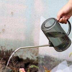 1l longo boca jardim plantando sprinkler pote rega de aço inoxidável pode transparente plantas verdes flores ferramentas jardinagem