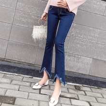 Y Leg Open 9/10 Length Pregnant Women Jeans Elastic Stretchy Cotton Denim Pencil Pants Maternity Trousers Elastic Waist Flares outad pregnant women elastic stretchy cotton jeans stylish and fashion denim pencil pants maternity trousers elastic waist hot