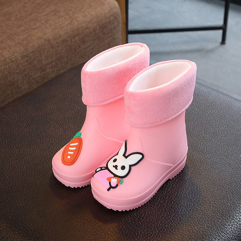 Kids Rain Boots For Boys Girls Rubber Rain Boots Waterproof Children Water Shoes Cartoon Rabbit Four Seasons Removable Non-slip