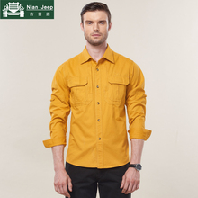 NIANJEEP Brand Military Shirt men 2018 Solid Long Sleeve Slim Fit Cami