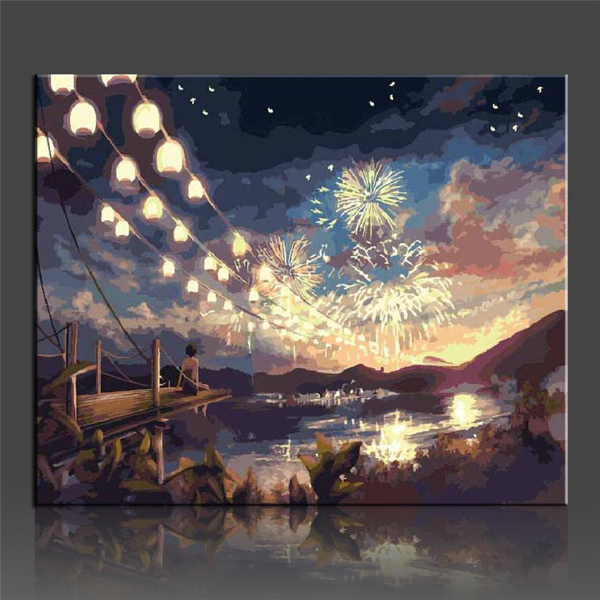 Ween Diy Painting Nummber Fireworks Wall Oil Canvas Art Coloring Number