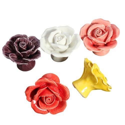 Colorful Children Room Ceramic Door S Rose Flower Drawer Pulls Cabinet Wardrobe Pull Handle Furniture Hardware