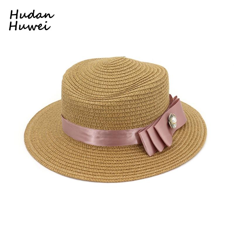 54450c62b Lady Boater Sun Caps Ribbon Round Flat Top Straw Fedora Panama Summer Women  Snapback Straw Hat Female Travel Beach Hat GH-681