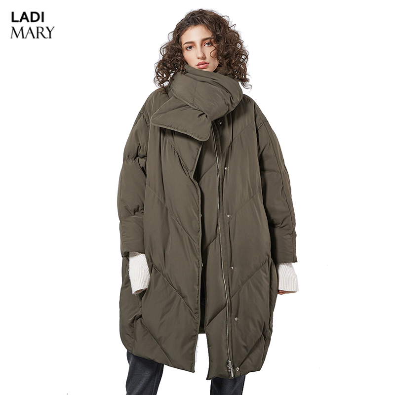 LADIMARY High Quality 2018 Winter Womens European Design Fashion Length X-Long Down Coat High-end Down Jackets LM360113