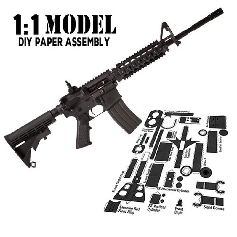 1:1 AMA1 Toy Gun Model Paper Assembled Educational Toy Building Construction Toys Card Model Building Sets