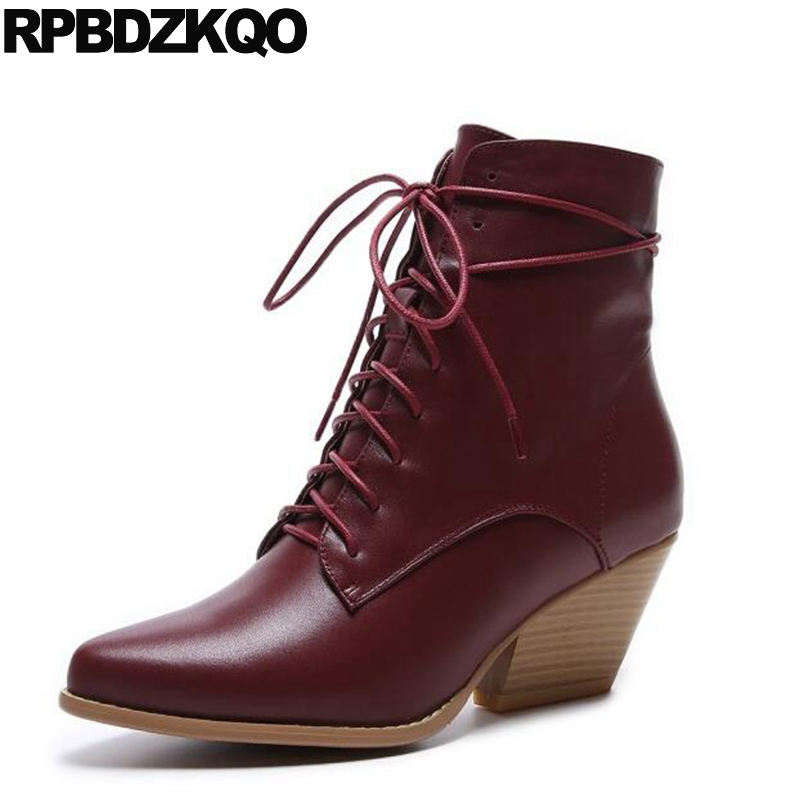 High Heel Wine Red Genuine Leather New Trend Front Lace Up Casual Ankle Boots Autumn Quality Pointed Toe 2017 Shoes Fall Short