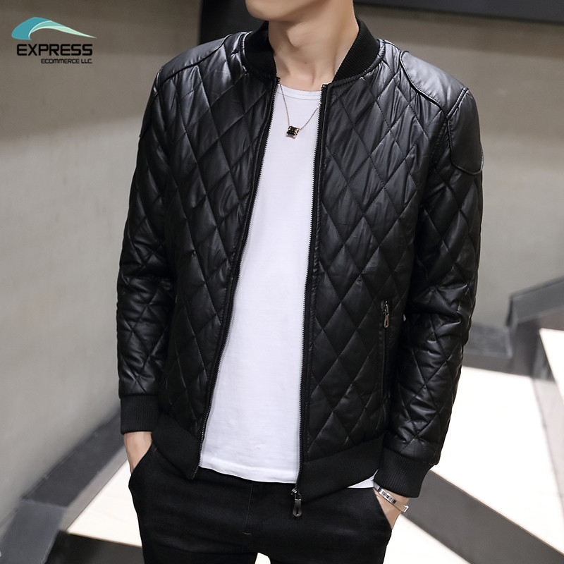 2017 autumn and winter fashion men's leather jacket collar Slim washed pu leather jacket coat Quilted Jacket M-3XL
