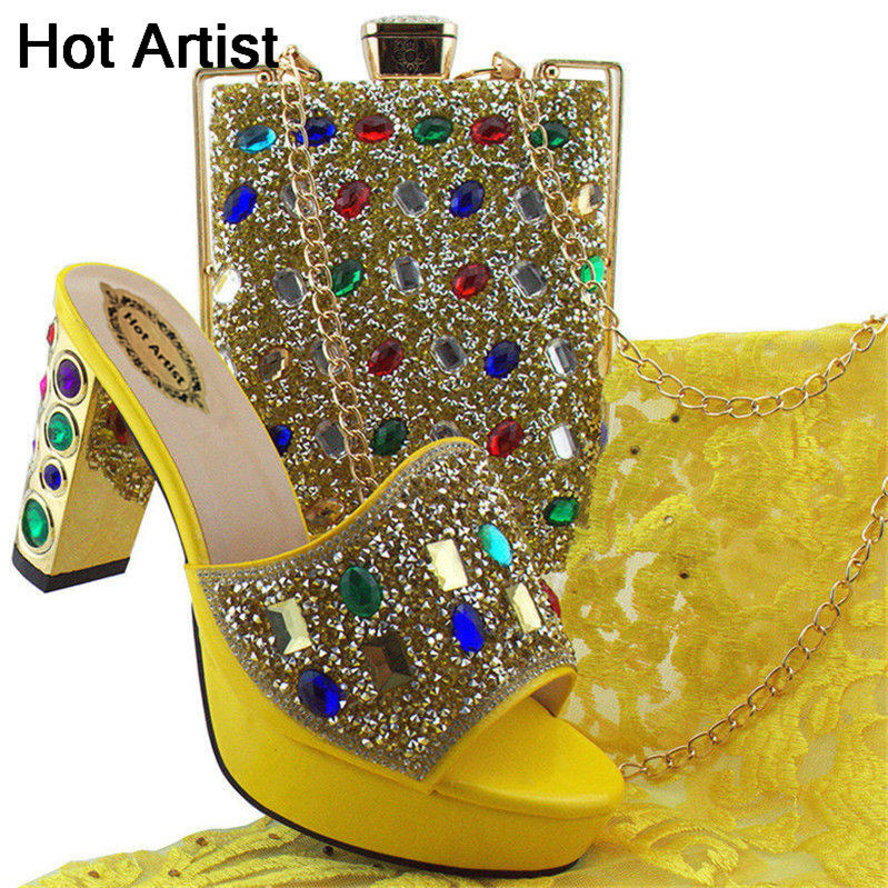 Hot Artist 2018 Yellow Color Rhinestone Shoes And Bag Set New Italian Woman High Heels Shoes And Bag Set For Wedding MD002 цена