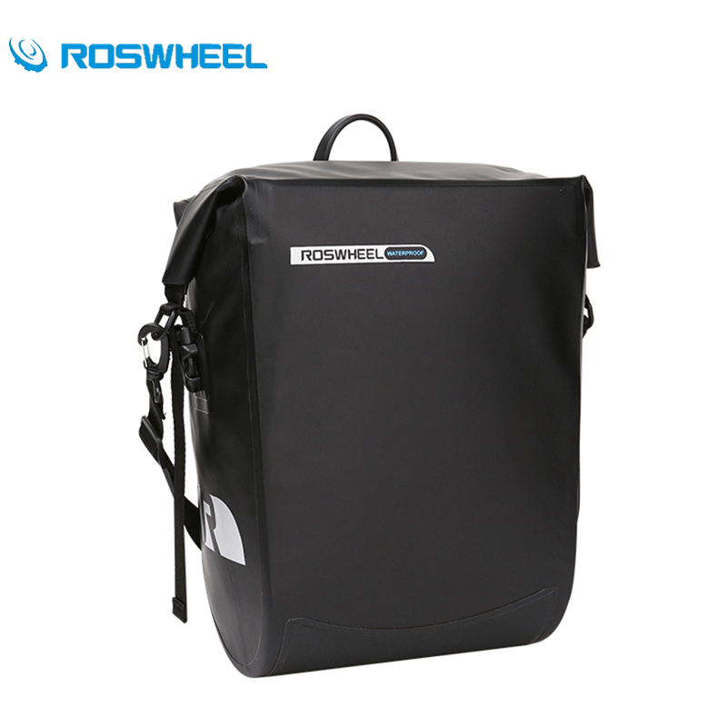ROSWHEEL Bicycle Unilateral Luggage Bag PVC Waterproof 20L Large Capacity Bike Rear Rack Carrier Bag Outdoor Cycling Pannier Bag