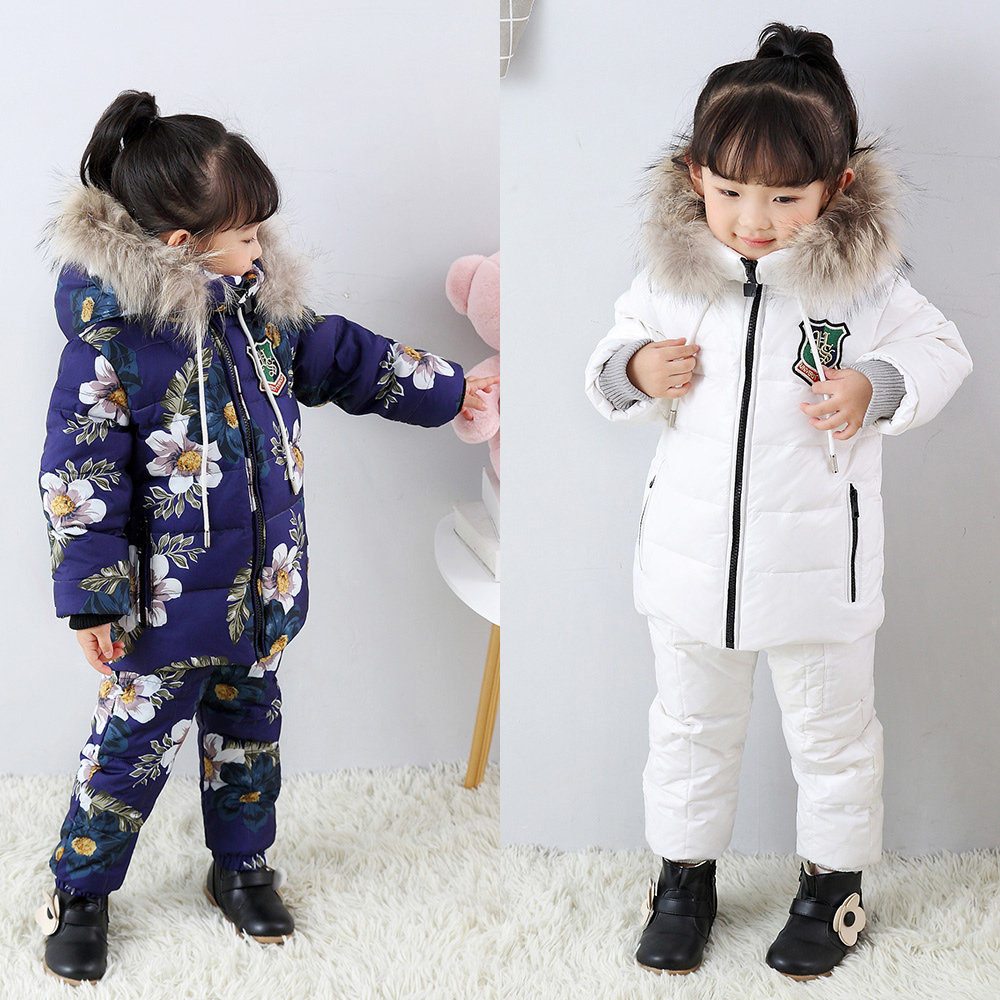 Real Fur Winter Warm Baby Boys Girls Snowsuit Girl Winter Duck Down Hooded Coat Kids Ski Suit Chothes Outerwear