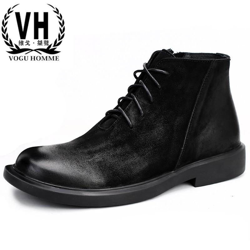 Chelsea bottes homme en cuir véritable bottes d'équitation hommes hiver fond épais rétro hommes bottes all-match en peau de vache cowboy bottes hommes