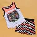 Free Shipping Monster High girl girls T shirt top Vest + Skirt + Underwear clothing set outfit 2pcs sets 6 sets/lot