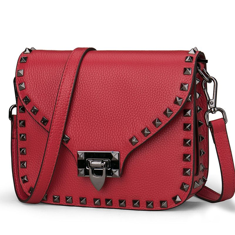 New women's rivet bag Europe and the United States first layer cowhide bag Messenger bag wide shoulder strap shoulder small bag цена