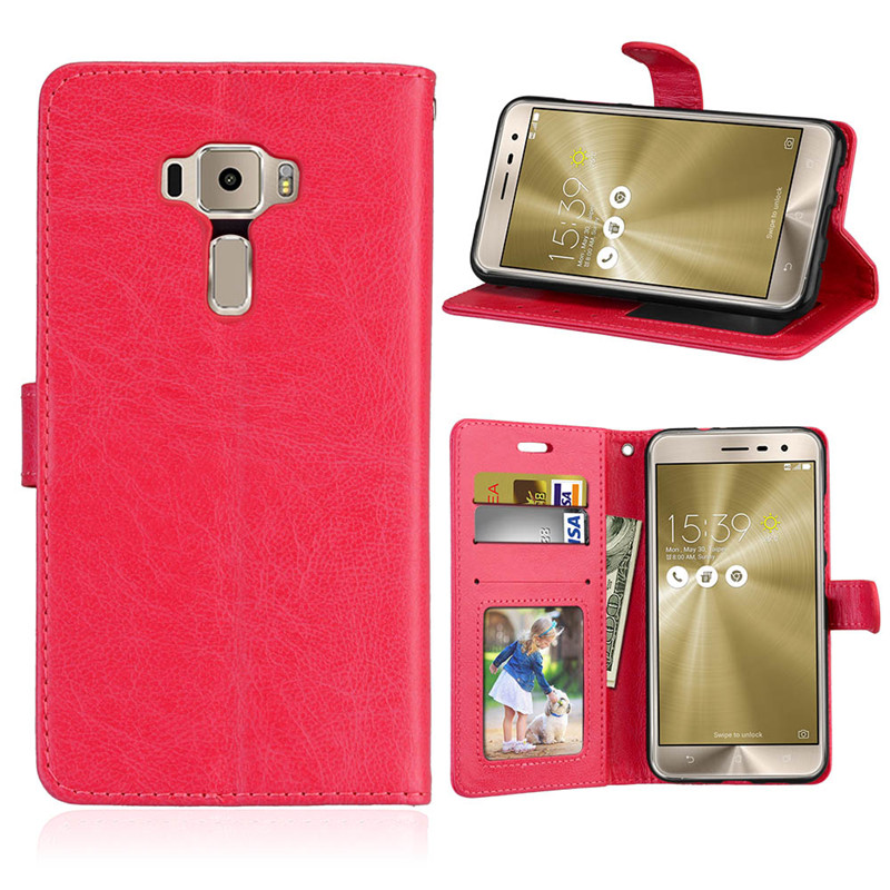 PU Leather <font><b>Case</b></font> <font><b>For</b></font> <font><b>ASUS</b></font> <font><b>Zenfone</b></font> <font><b>3</b></font> <font><b>ZE520KL</b></font> <font><b>Cases</b></font> <font><b>Flip</b></font> Cover Retro Crazy Horse Pattern Coque capinha Wallet Stand funda image