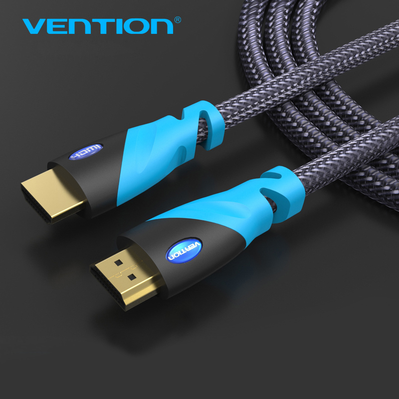 Vention HDMI Cable 1m/1.5m2m/3m HDMI to HDMI Male to Male Nylon Braid Gold Plated Connection For Computer XBOX HDTV hi fi ofc 12awg audio transmission speaker connection red white cable 80m