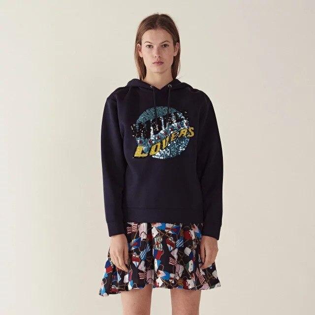 Nouveaux pulls à capuche avec des paillettes monogrammées en vrac décontracté hoodies veste à capuche femme