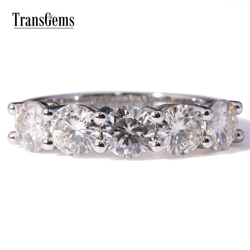 Трансдрагоценные камни Золотое обручальное кольцо Moissanite 2.5CTW 5 мм камень F цвет Moissanite Seting in 14K белое золотое обручальное кольцо для женщин