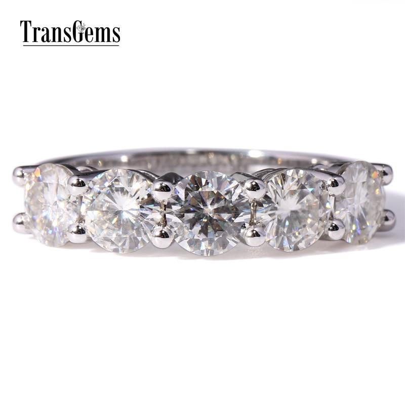Transgems gouden trouwring Moissanite 2.5CTW 5MM steen F kleur - Fijne sieraden