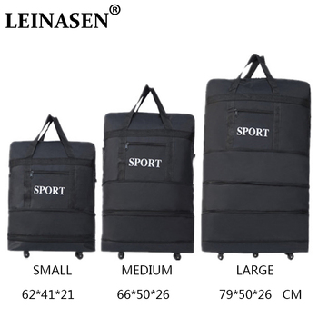 High Quality New large-capacity three-layer expandable folding Oxford bag  universal wheel consignment aviation ultra-light travel luggage b48231280f5b8