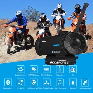 Image 2 - Fodsports 2 pcs FX8 אופנוע קסדת אינטרקום 8 רוכב 1000m קסדת Bluetooth אוזניות קבוצת אינטרקום Moto Intercomunicador FM
