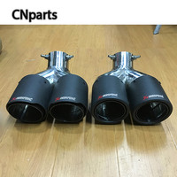 1pcs Universal Bend Style Twin Outlet Akrapovic Car Exhaust Tip Stainless Steel Carbon Pipe Modified Rear Tail Liner Accessories