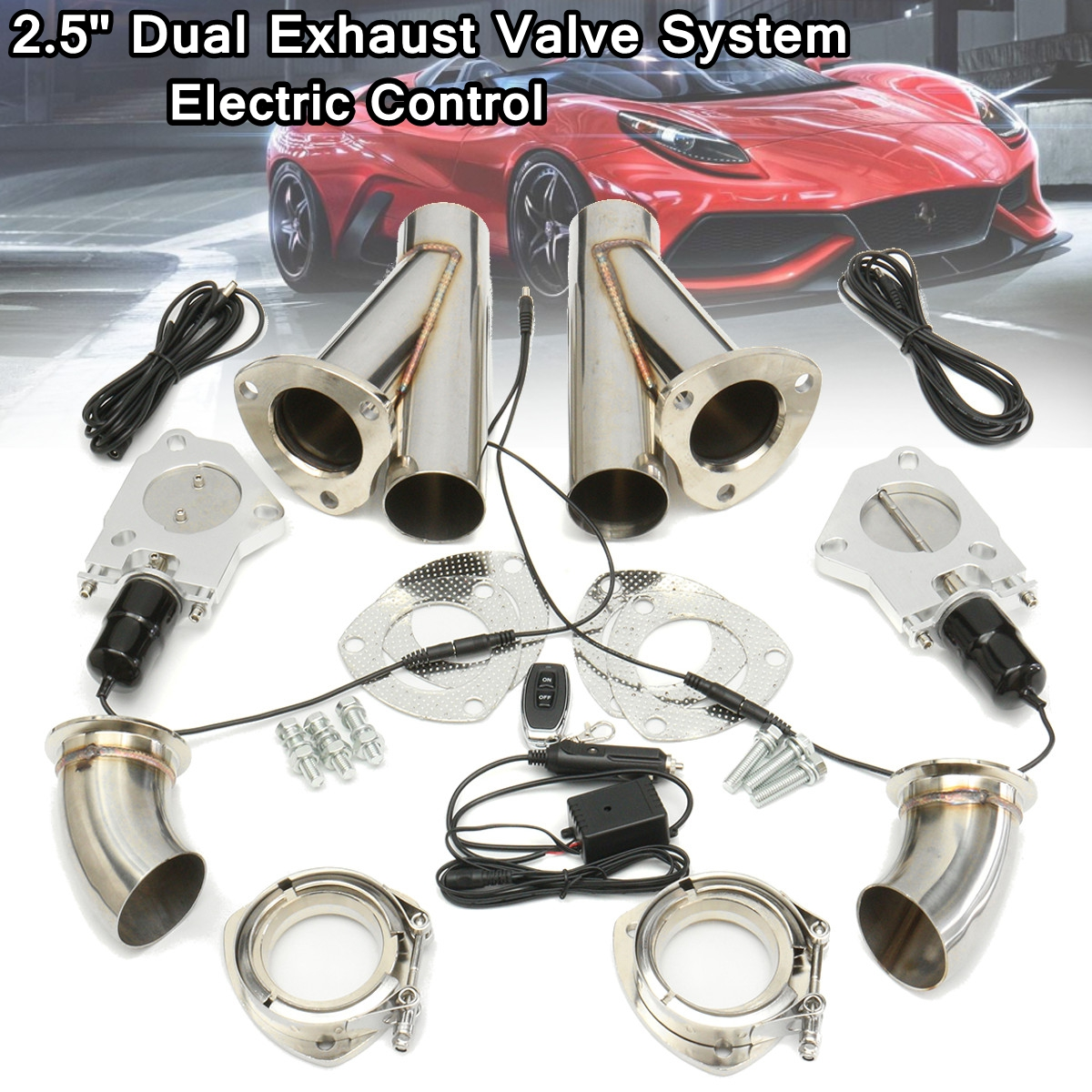 2.5 Inch 6.3mm Dual Exhaust Catback Down Pipe Cutout Valve System Electric Control Kit