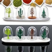 4pcs/Set Four Seasons Tree Seasoning Containers Salt Shakers Herb Spice Holder Storage Box Jars Kitchen Tools 8 HG99