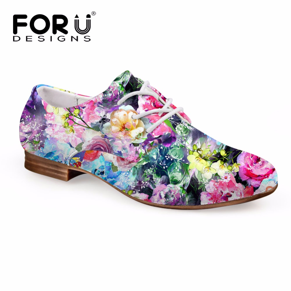 FORUDESIGNS Bohemia Style Summer Women Leisure Oxford Shoes Stylish Floral Printed Flat Shoes for Ladies Casual Leather Shoes