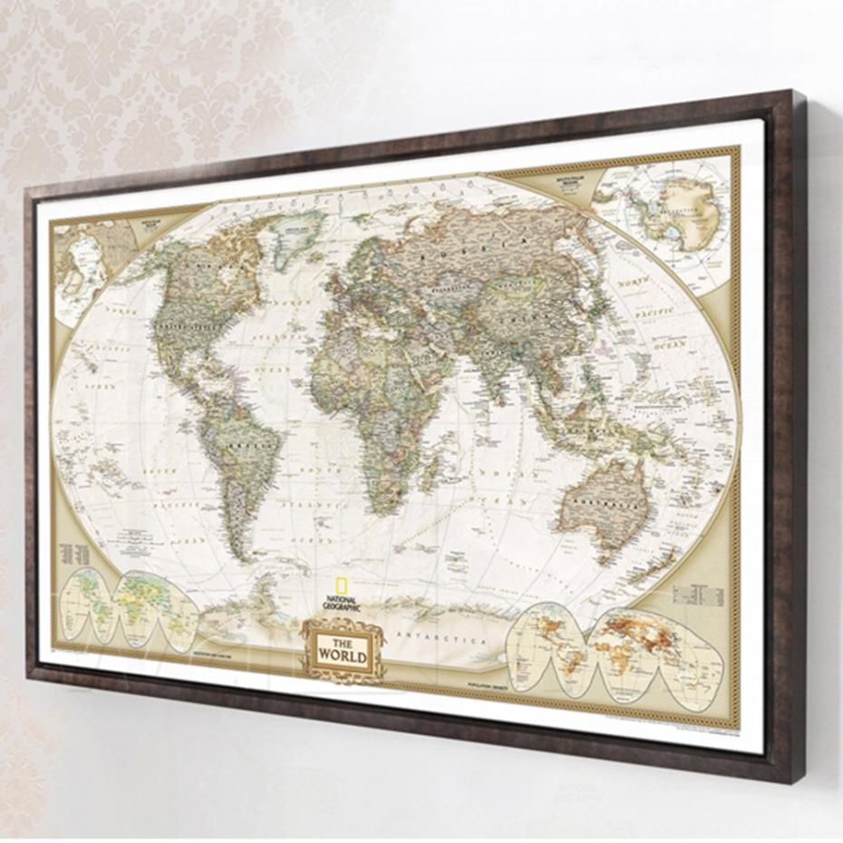 Mling Large Vintage World Map Office Supplies Detailed Antique Poster Wall Chart Retro Paper Matte Kraft Paper  Map Of World